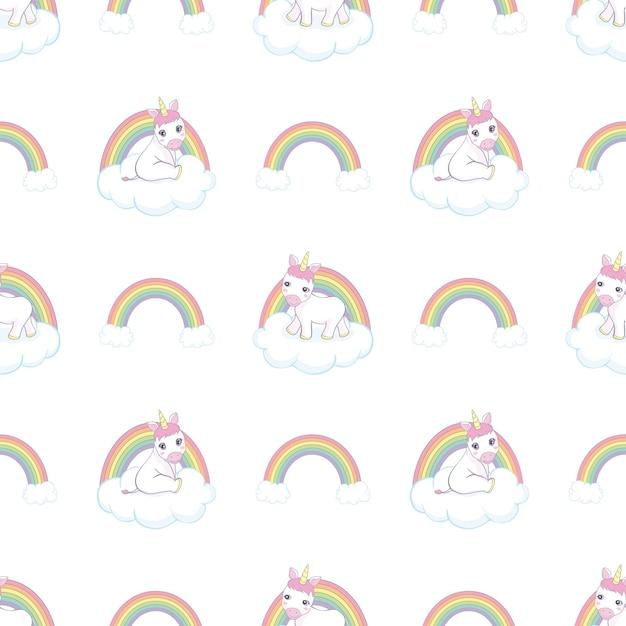 ユニコーン、雲、虹と手描きのシームレスなパターン Premiumベクター