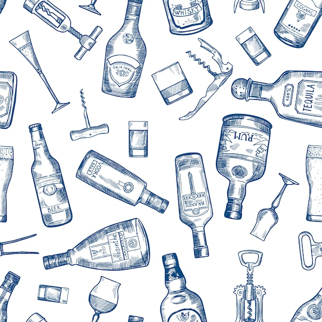 Hand drawn seamless pattern with various alcohol bottles. vector cognac and whisky, absinthe and vodka, tequila and rum illustration Premium Vector