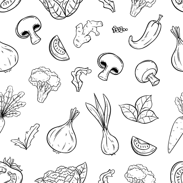 Hand drawn seamless pattern with vegetables Premium Vector