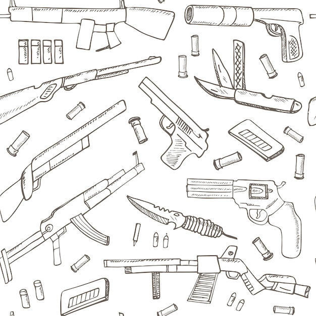 Hand drawn seamless pattern with weapons. Premium Vector