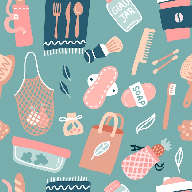 Hand drawn seamless pattern of zero waste life. eco style. no plastic. go green. reusable bags, brushes and bottles, glass jar isolated. flat vector illustration Premium Vector