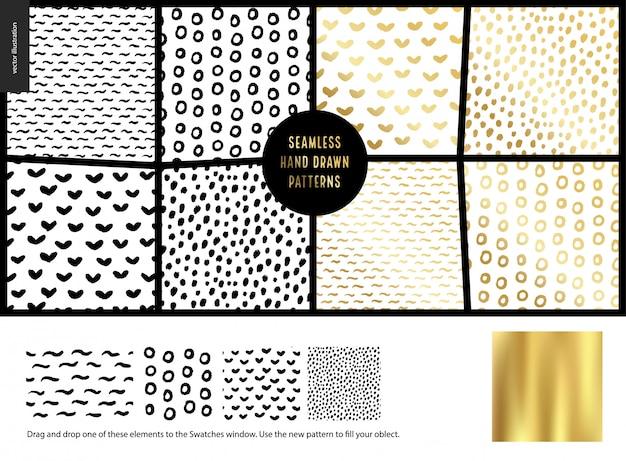 Hand drawn seamless patterns set Premium Vector