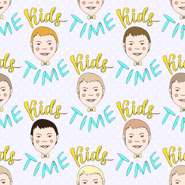 Hand drawn seamless vector pattern with kids and lettering kids time. childish doodle  background. Premium Vector