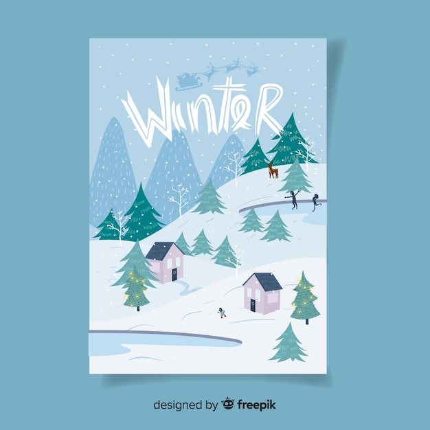 Hand drawn seasonal poster collection Free Vector