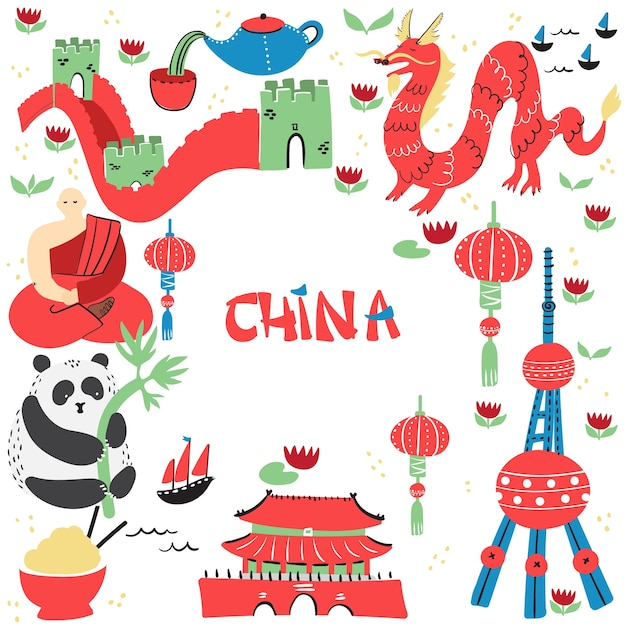 Hand drawn set of china signs with main sightseeings, famous places or tourist sights. Premium Vector