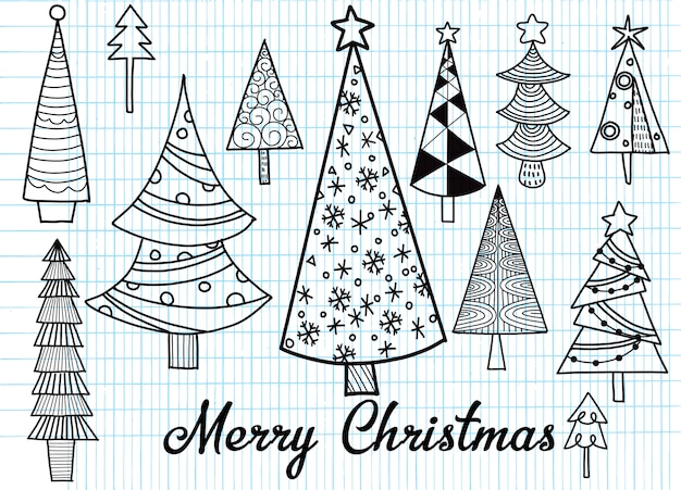 Christmas Trees Drawing.Hand Drawn Set Of Christmas Trees Holidays Background