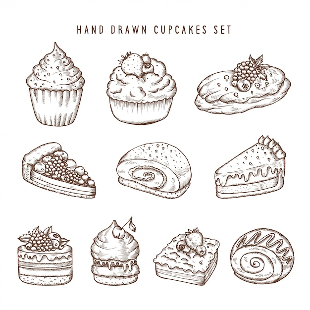 Hand drawn set of cupcakes and bakery products Premium Vector