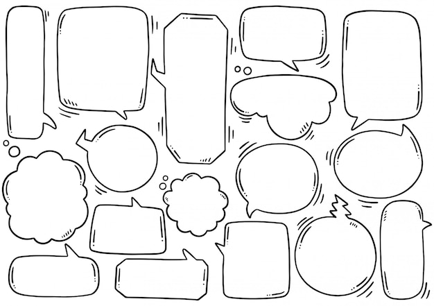 Hand drawn  set of cute speech bubble in doodle style Premium Vector