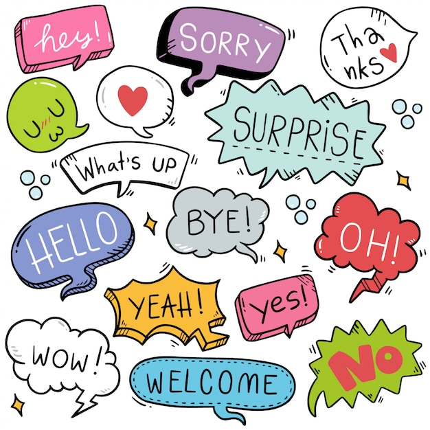 Hand drawn set of cute speech bubble with text in doodle style Premium Vector