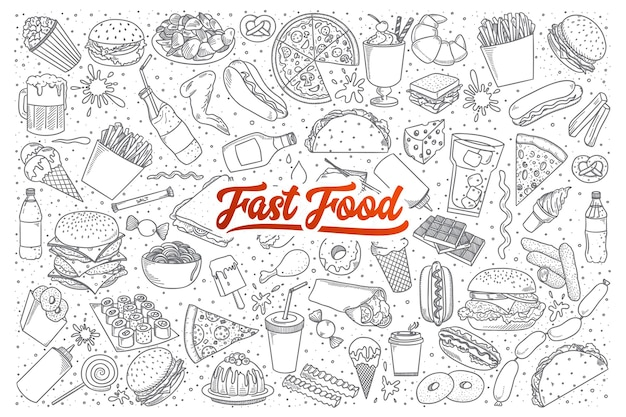 Hand drawn set of fast food doodles with lettering Premium Vector