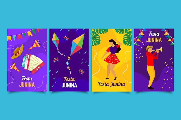 Hand drawn set of festa junina cards Free Vector