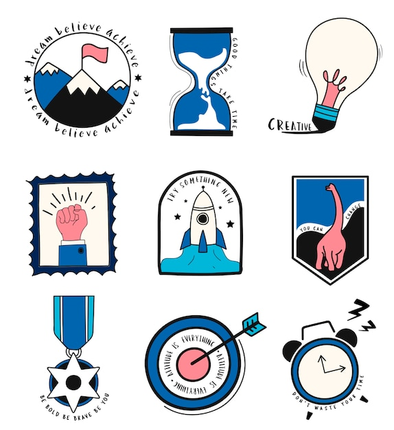Hand drawn set of idea and business symbols illustration Free Vector