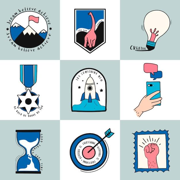Hand drawn set of idea and business symbols illustration Free Vector