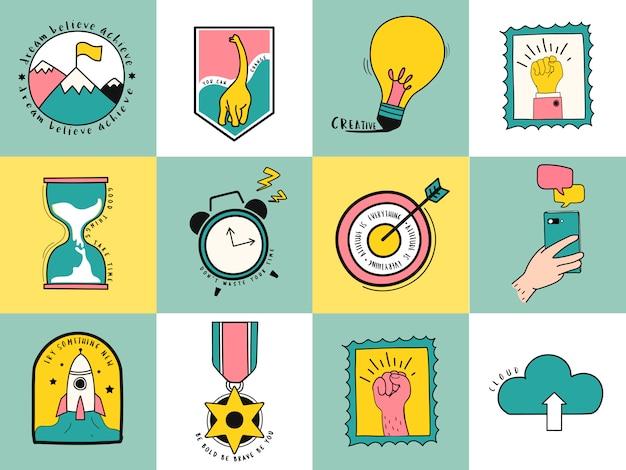 Insieme disegnato a mano dell'illustrazione di simboli di affari e idea Vettore gratuito