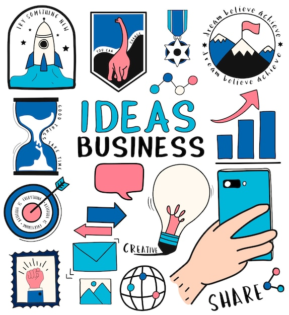 Hand drawn set of ideas and business symbols illustration Free Vector