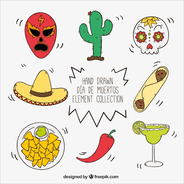 Hand-drawn set of mexican items Free Vector