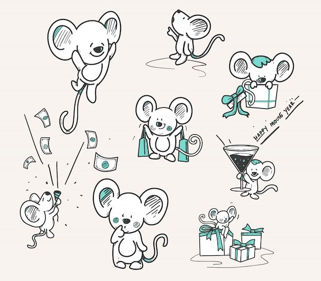 Hand drawn set of mouse Premium Vector