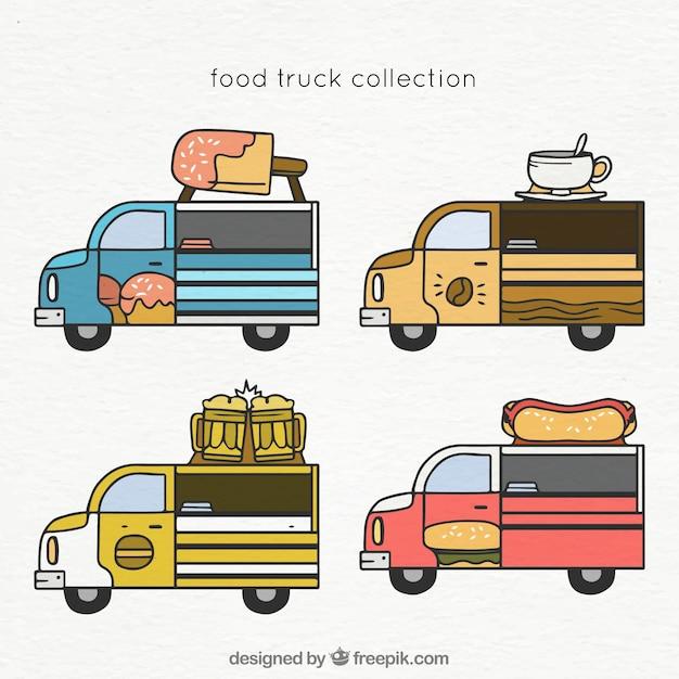 Hand drawn set of classical food trucks