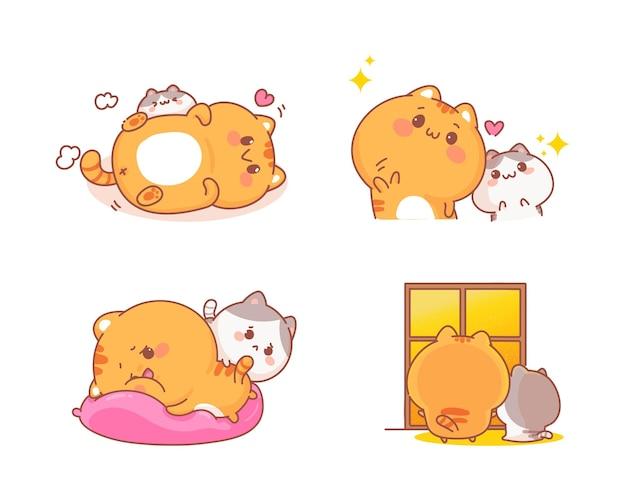 손으로 그린 귀여운 고양이 세트 다른 제스처 만화 그림 무료 벡터