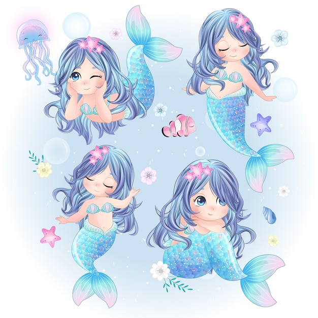 かわいい人魚の手描きセット Premiumベクター