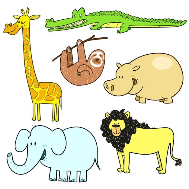 다른 정글 동물의 손으로 그린 세트 프리미엄 벡터
