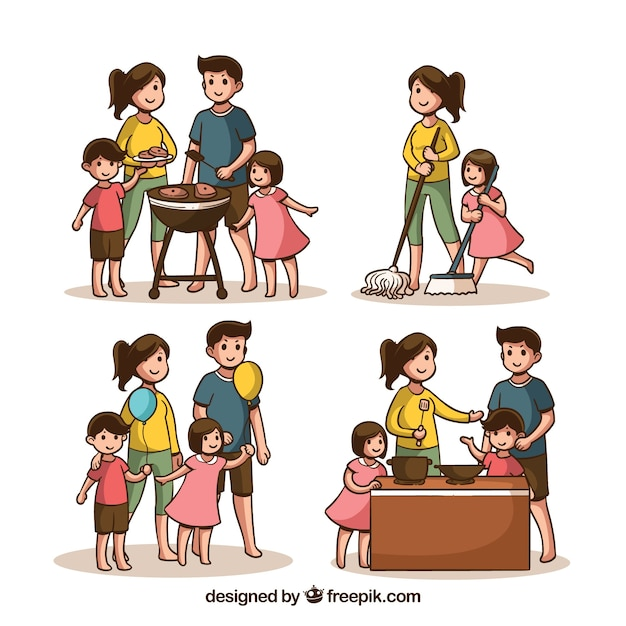 Hand drawn set of families doing different activities Free Vector