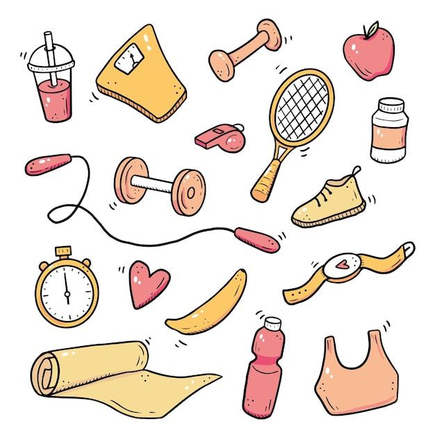 손으로 그린 피트니스, 체육관 장비, 활동 라이프 스타일 개념의 집합입니다. 낙서 스케치 스타일. 디지털 브러시 펜으로 그린 스포츠 요소. 아이콘, 프레임, 배경 그림입니다. 프리미엄 벡터