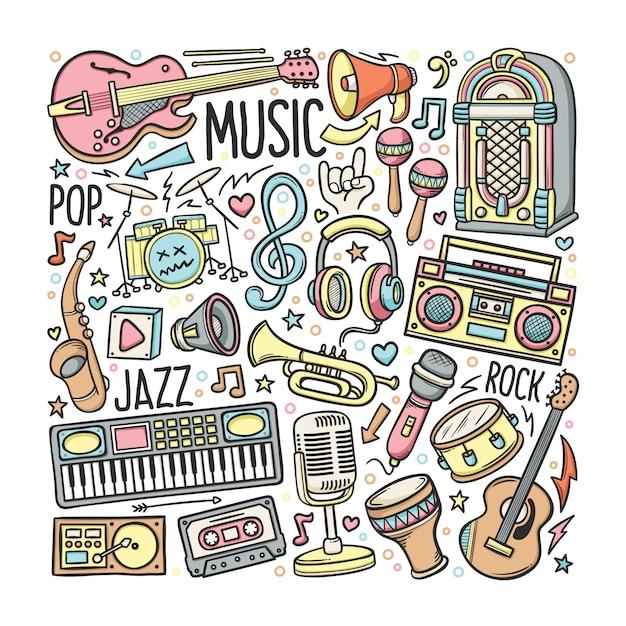Набор рисованной музыки в цвете doodles Premium векторы