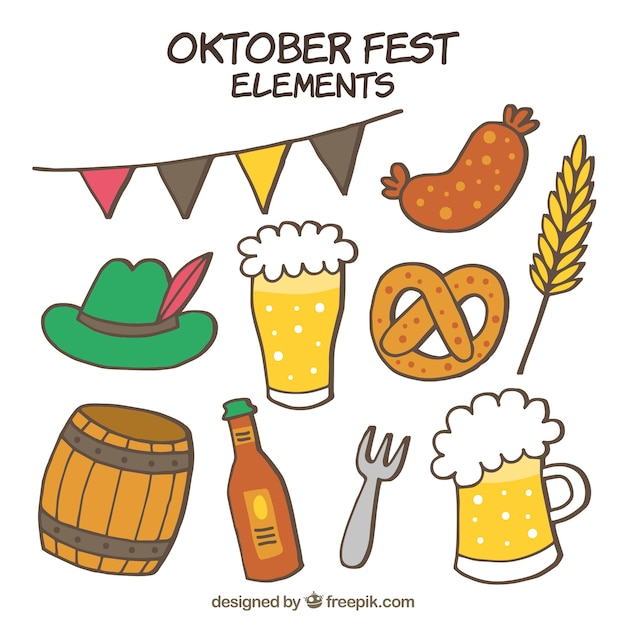 Hand drawn set of oktoberfest elements