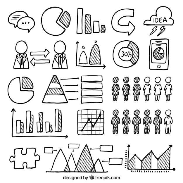 Hand-drawn set of useful elements for infographics Free Vector