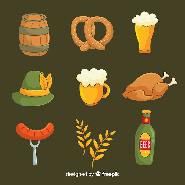 Hand drawn set of oktoberfest elements collection Free Vector