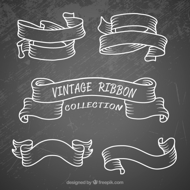 Hand drawn set ribbons in vintage style Free Vector