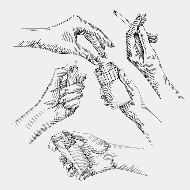 Hand-drawn set of sketches of a woman hand holding a cigarette and burning a cigarette, female hands getting a cigarette out of the cigarette pack, female hand lighting a lighter. Premium Vector