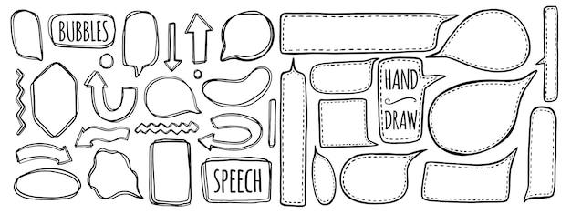 Hand drawn set of speech bubbles. Premium Vector