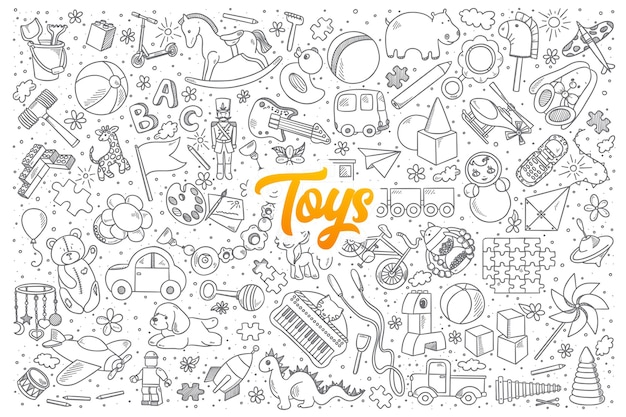 Hand drawn set of toys doodles with yellow lettering Premium Vector