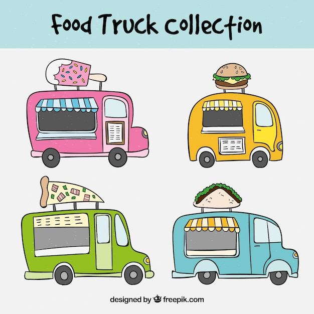 Hand drawn set with colorful food trucks