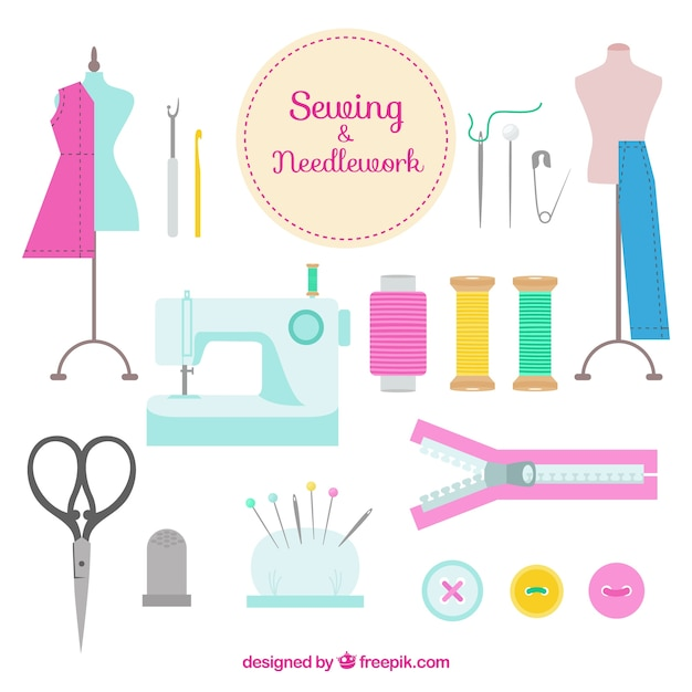 Hand drawn sewing accessories Free Vector