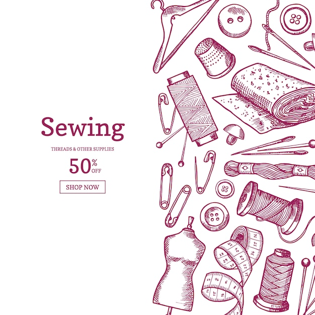 Hand drawn sewing elements background illustration with place for text Premium Vector