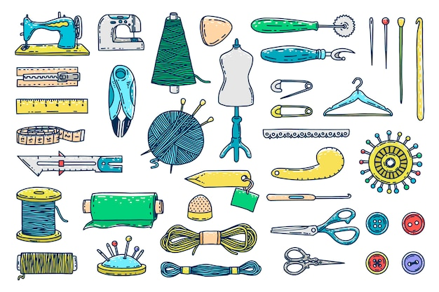 Hand drawn sewing icons Premium Vector