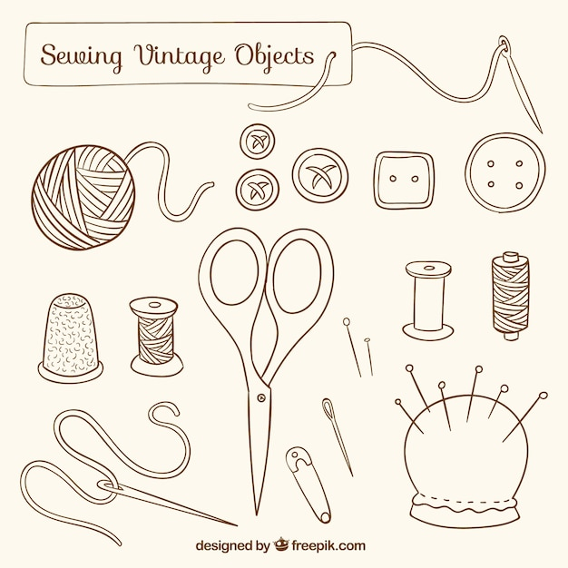Hand drawn sewing vintage objects Free Vector
