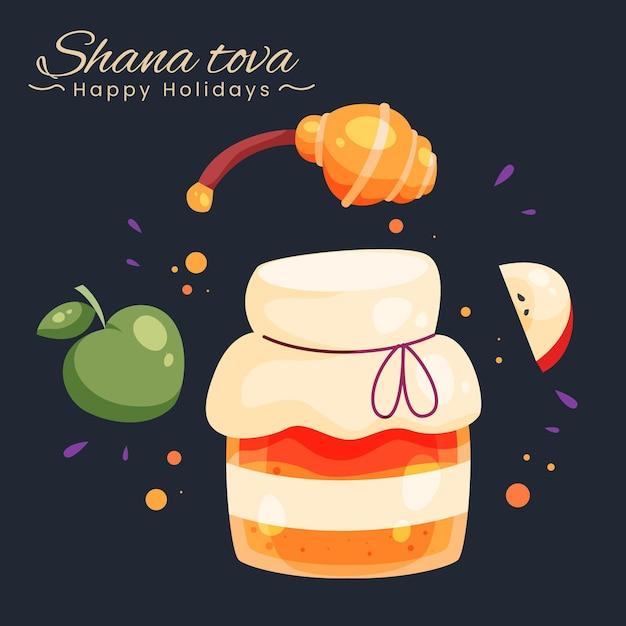Shana tova disegnato a mano con mela e miele Vettore gratuito