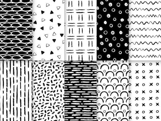 Hand drawn shapes lines seamless pattern collection Premium Vector