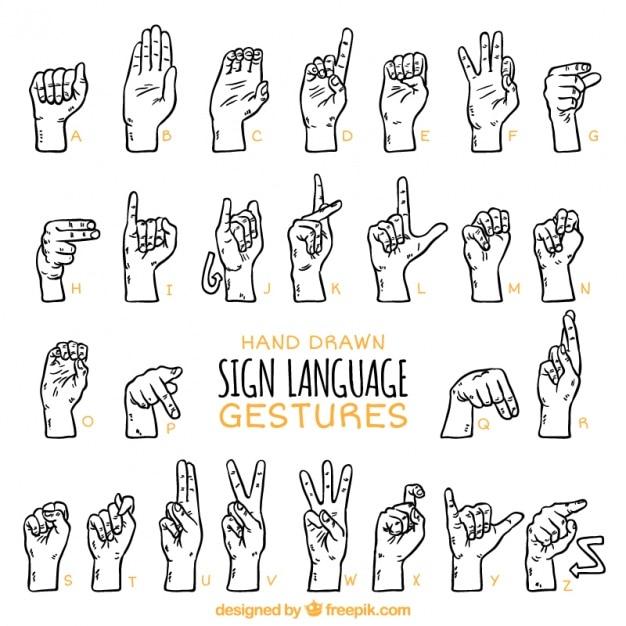 Hand drawn sign language alphabet Free Vector