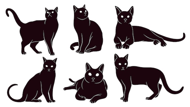 Hand drawn silhouette of cats Premium Vector