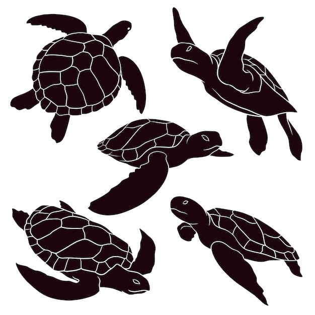 Hand drawn silhouette of sea turtle Premium Vector