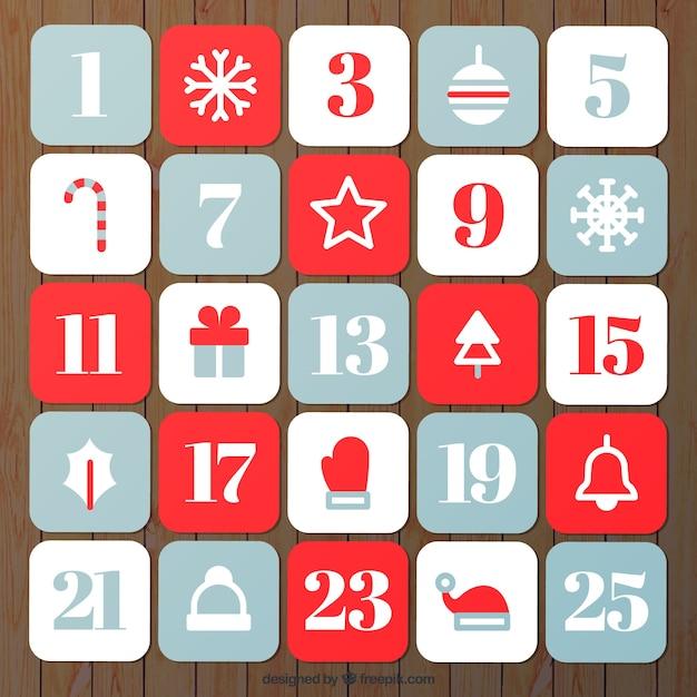 Hand drawn simple advent calendar Free Vector
