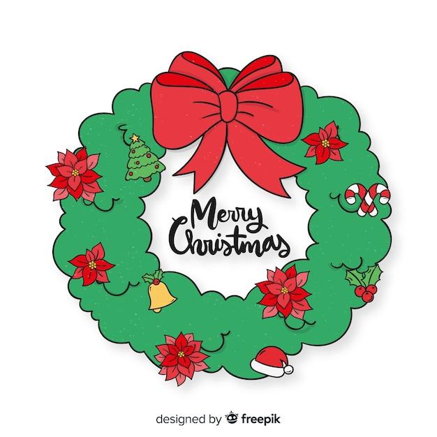 Hand drawn simple christmas wreath Free Vector