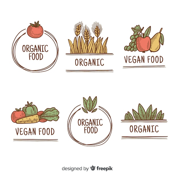 Hand drawn simple organic food labels Free Vector