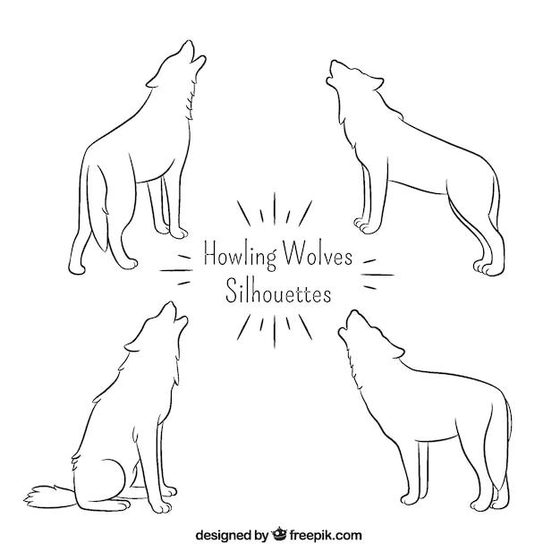 手描きの単純なオオカミのシルエット 無料ベクター