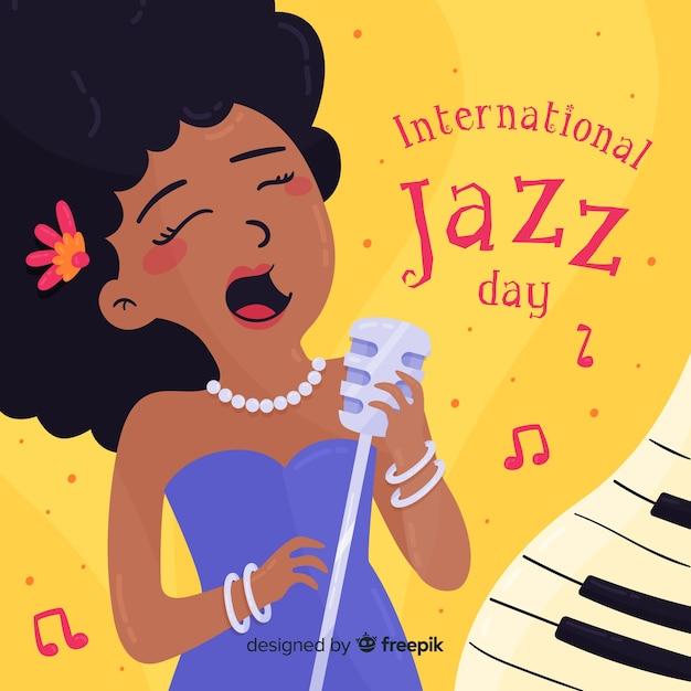 Hand drawn singer international jazz day background Free Vector